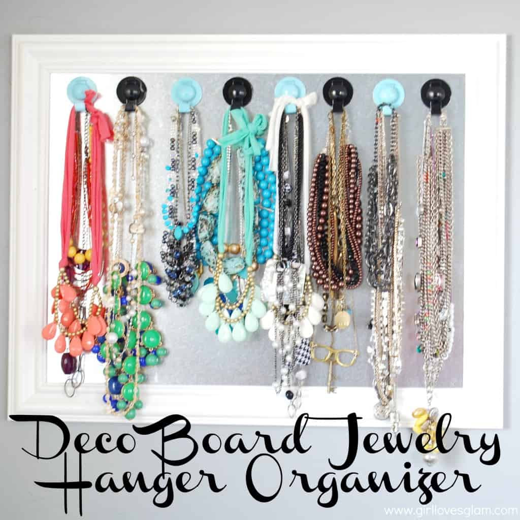 Jewelry Hanger Organizer on www.girllovesglam.com #diy #organize