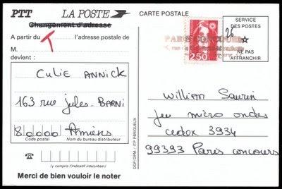 Blog Philatélie Carte Postale De Changement Dadresse