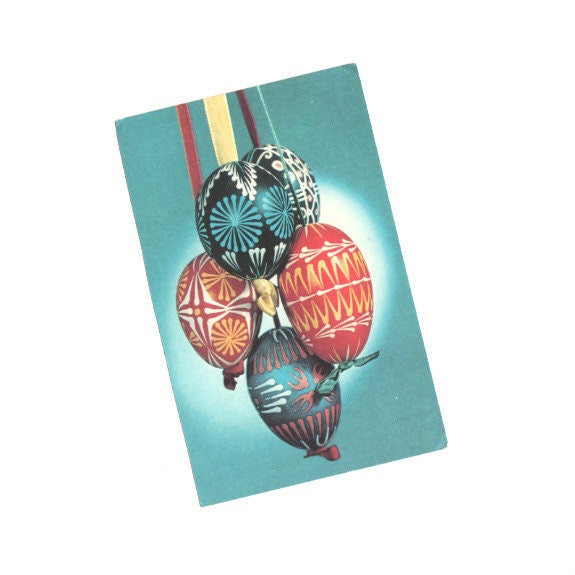 Buy 2 get 1 free VINTAGE Post card from Czechoslovakia Easter Praha Greeting post card 50 years old Multicolor Foto Art Vintage by dilma