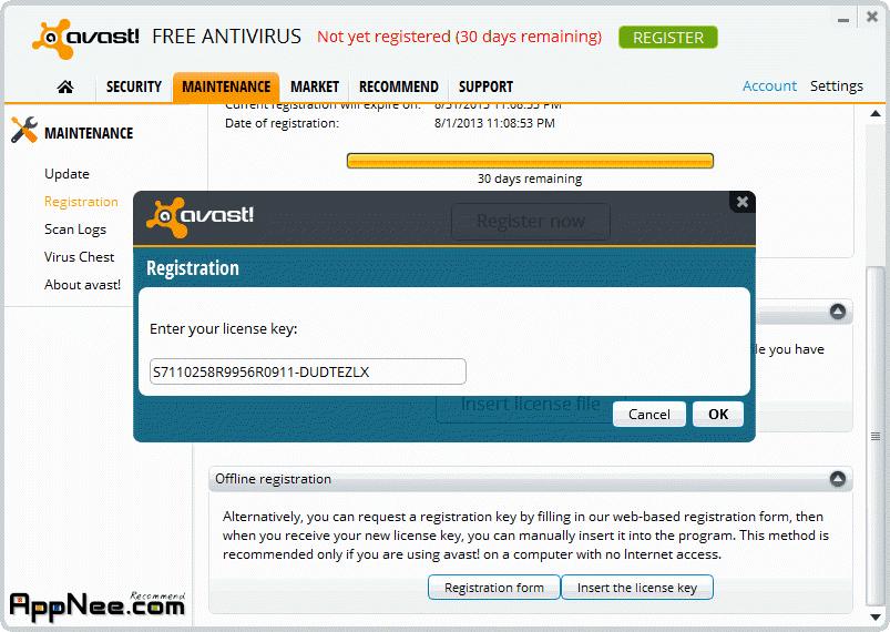avast offline registration key