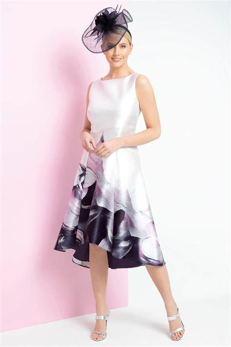 Marble Print Dipped Hem Midi Dress in Pink   Roman