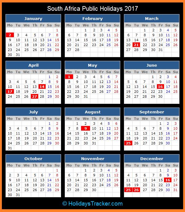 2017 Calendar South Africa Holidays | Printable Calendar Templates