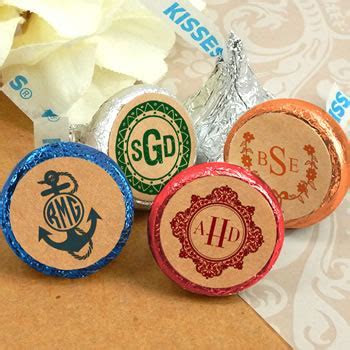 Monogram Kraft Hershey's Kisses   Nice Price Favors