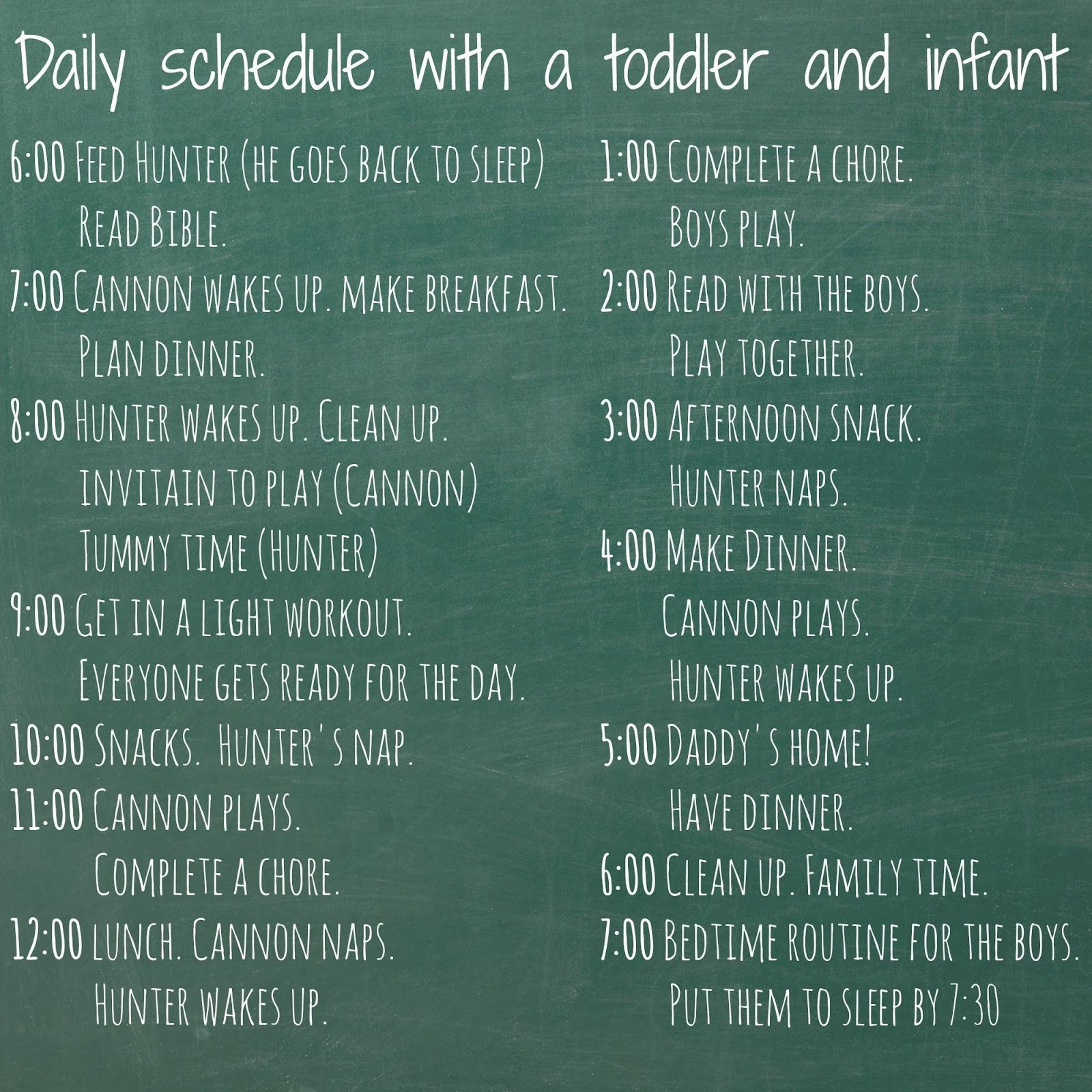 Daily schedule with a Toddler and Infant   Ideas, Toddlers and Infants