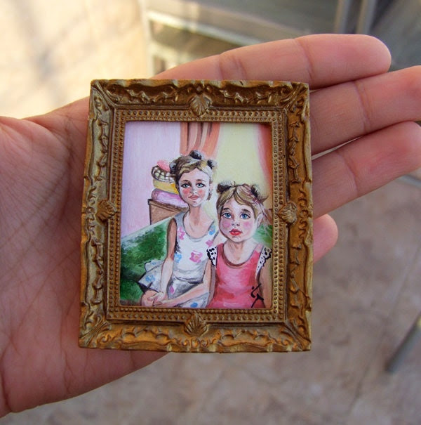 """Tiny Original Acrylic Painting """"Two sisters"""" for Dollhouse or Collection by VaKaDi"""