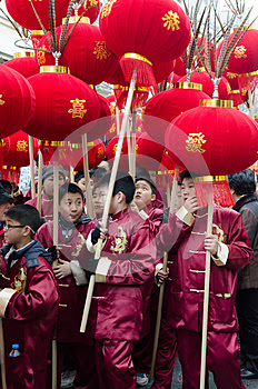 Chinese children during new year 2014 in Paris