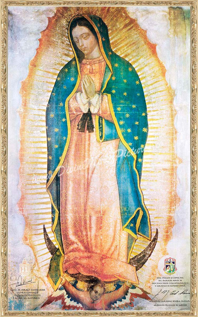 51 By 84 Antique Gold Framed Canvas Our Lady Of Guadalupe Image