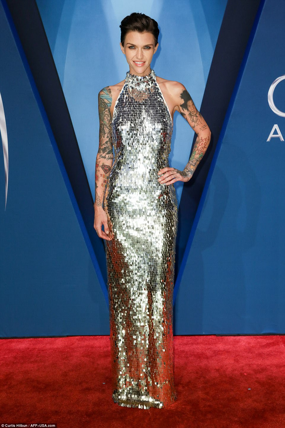 All that glitters! Ruby Rose dazzled in a chic, floor length dress with silver sequins