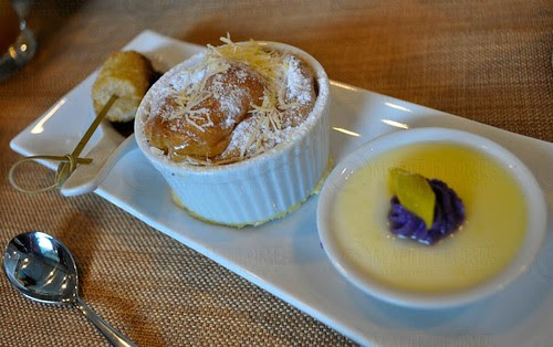 (L-R) Fried Suman at Tsokolate, Ensaymada Pudding, and Ube at Langka Panna Cotta