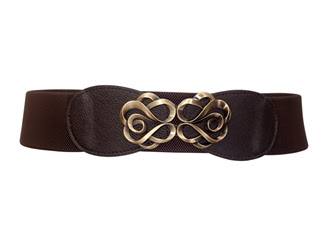 Plus size Antique Brass Look Elastic Cinch Belt Brown