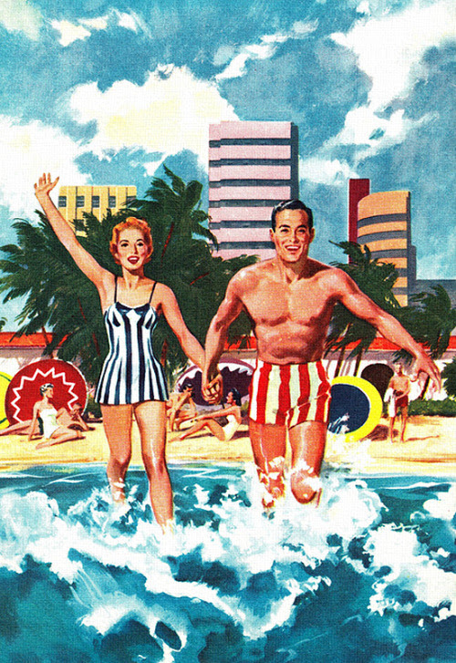 Summer Fun - detail from 1958 Standard Oil Miami Road map illustration.