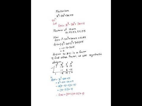 Factorization of cubic equation ( polynomial with degree three) using factor theorem and synthetic division