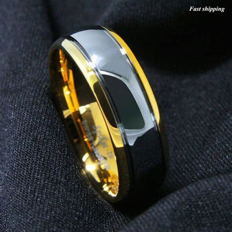 8mm Dome 18K Gold Mens Tungsten Ring Wedding Band Bridal