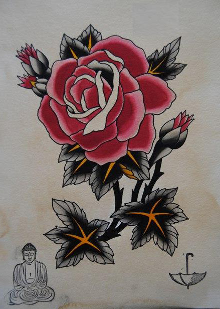 Japanese Monk And Rose Drawing Tattoo Best Tattoo Ideas Gallery