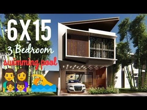 update desain rumah modern 6x15 dengan 3 kamar tidur kolam