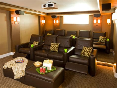 contemporary home theater  tiered leather seating hgtv