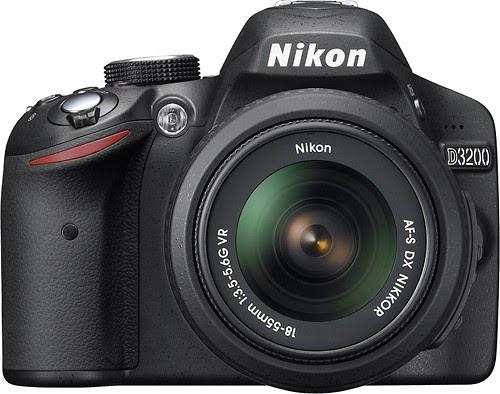 Nikon - D3200 DSLR Camera with 18-55mm VR Lens - Black - Larger Front