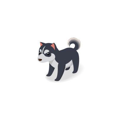 フリー素材 ハスキー犬を描いたイラストアイコン丸まった尻尾や