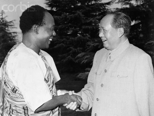 Symbolizing the People's Republic of China's eagerness to win new friends in Africa, Mao Tse-Tung (right) extends the hand of friendship to Ghana's President Kwame Nkrumah at a July 28, 1962 meeting in Hangchow, China. by Pan-African News Wire File Photos