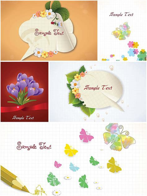 Spring greeting cards with butterflies   Free download