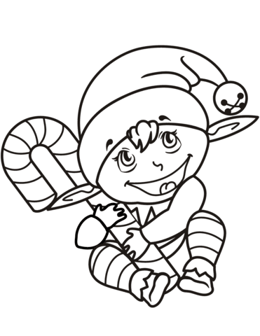 cute christmas elf with candy cane coloring page  free