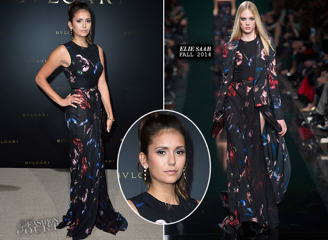 Nina Dobrev in Elie Saab | BVLGARI Cocktail Event - Paris Couture Fashion Week