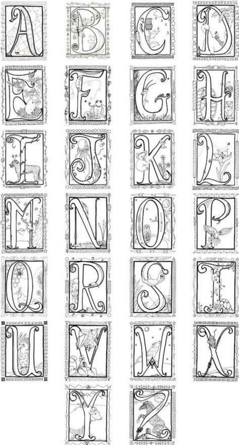 printable illuminated letters coloring pages