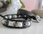Pearl and Crystal Leather Wrap Bracelet