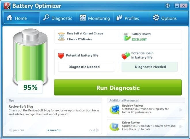 battery optimizer software main screen