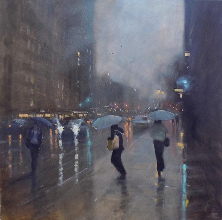 mike barr jour pluvieux peinture impressionniste