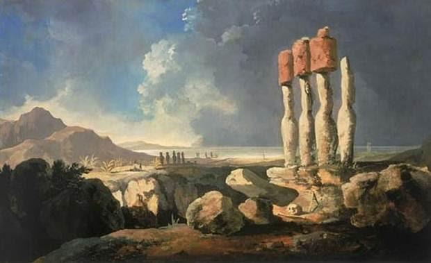 La primera pintura conocida sobre la Isla de Pascua, por William Hodges, 1775.