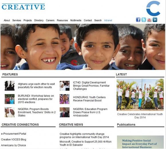 Portada de la página web de Creative Associates International Inc.