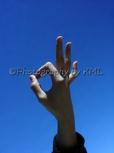 okay hand sign against the sky