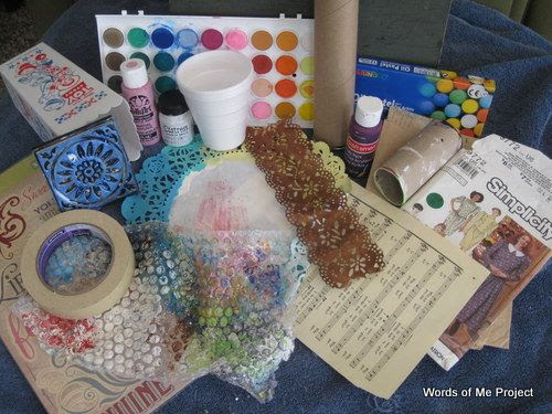 {Words of Me Project}: Art Journaling Ideas  (This lady has a great list of things you may have never thought of to use in your art journal. )