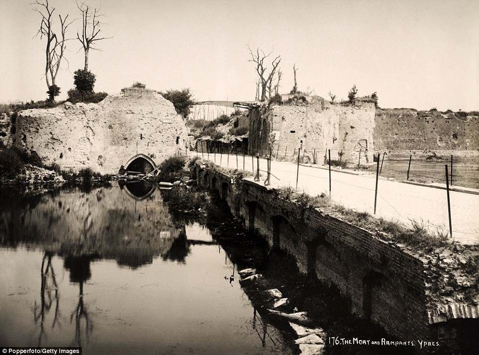 The moat and the ramparts at Ypres: The city was the centre of intense and sustained battles between the German and the Allied forces