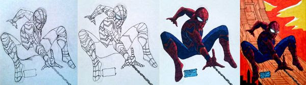 Work-in-progress photos of my SPIDER-MAN (as 'Iron Spider') drawing.