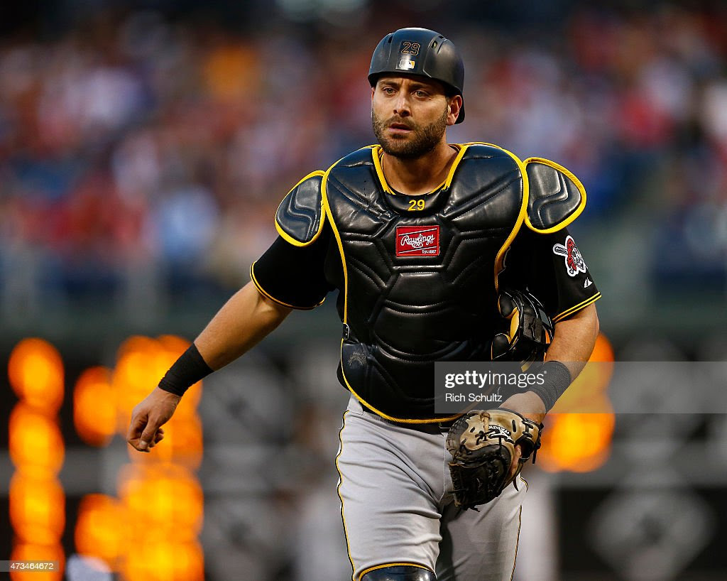 <a gi-track='captionPersonalityLinkClicked' href='/galleries/personality/4172506' ng-click='$event.stopPropagation()'>Francisco Cervelli</a> #29 of the Pittsburgh Pirates in action during a game against the Philadelphia Phillies at Citizens Bank Park on May 13, 2015 in Philadelphia, Pennsylvania.