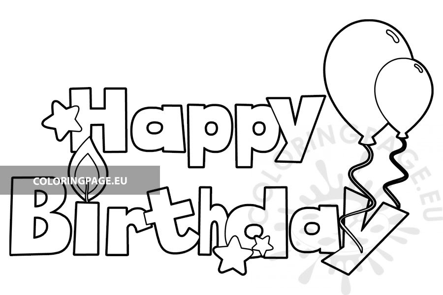 Happy Birthday with Balloons and stars - Coloring Page
