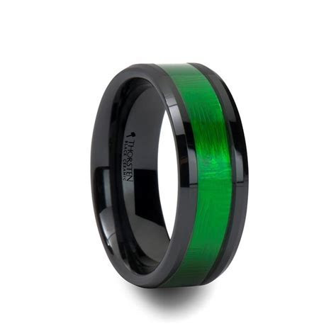 LUMEN Black Men's Ceramic Wedding Band with Green Inlay