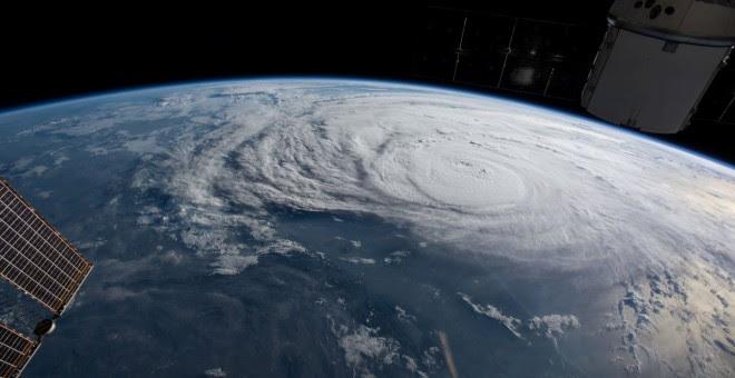 Huracán Harvey en la costa de Texas, visto desde la Estación Internacional Espacial de la NASA./REUTERS
