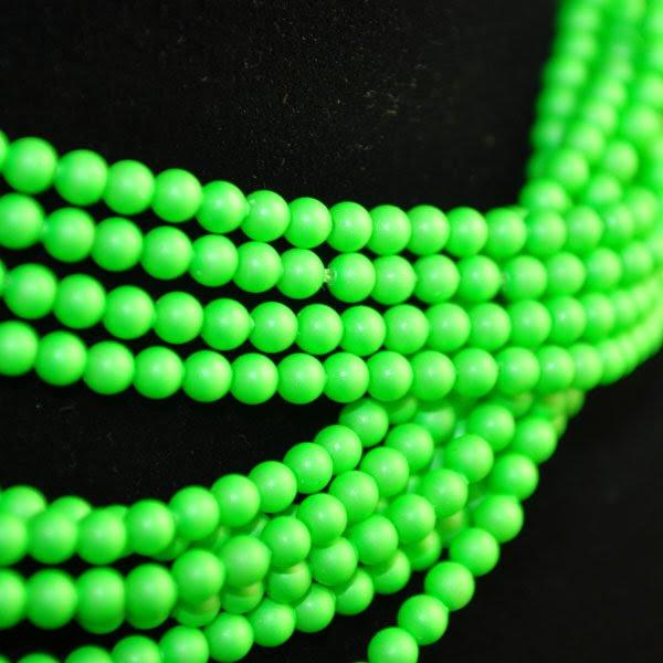 s34927 Swarovski Neon Pearl - 3 mm Round Pearl (5810) - Neon Green Pearl (100)
