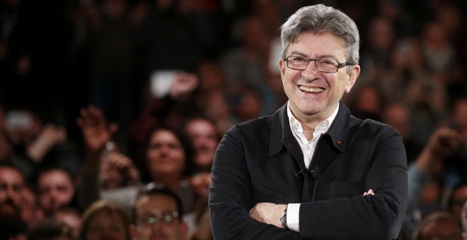 El candidato izquierdista a las elecciones presidenciales francesas, Jean-Luc Mélenchon, en uno de sus mítines de campaña. REUTERS/Pascal Rossignol