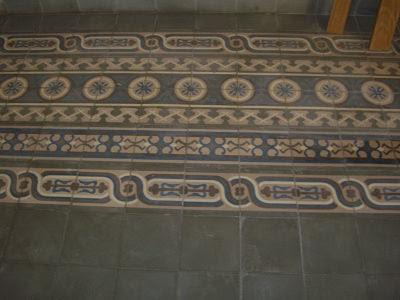 Multiple Cement Tile Borders Create Interest