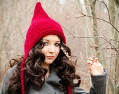 Knit Hat Red Womens Hat Red Ear Flap Hat Red Hat - Red Pixie Hat in Cranberry Red Knit Hat - Ready To Ship - Womens Accessories Winter Hat