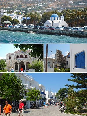 από επάνω αριστερά: η παραλία της Παροικιάς, η Παναγία η Εκατονταπυλιανή, το Φράγκικο Κάστρο και πεζόδρομος