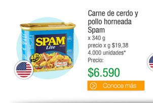 Carne de cerdo ypollo horneada Spam - x 340 g precio x g $19,38 4.000 unidades*- PRECIO: $6.590
