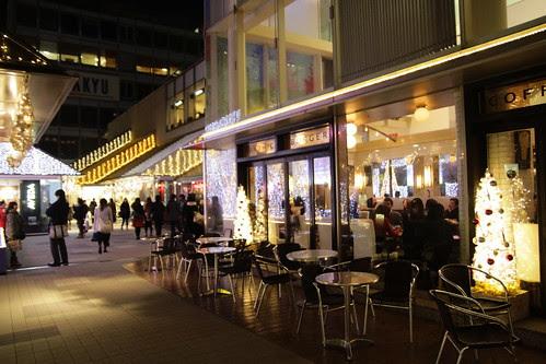 Mosaic street lit up