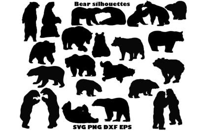 Download Download Bear Silhouette SVG PNG DXF EPS Free - Free ...