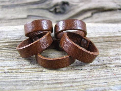 Mens And Womens Brown Leather Ring Band, Leather Jewelry