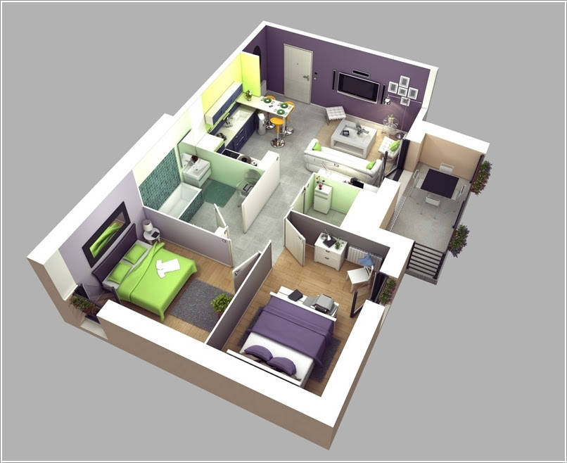 Awesome Two Bedroom Apartment 3D Floor Plans | Architecture amp; Design